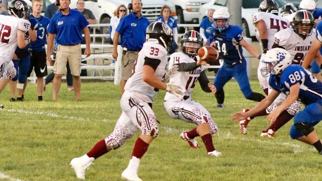 Leoti quarterback Kayde Rietzke (14) pitches to tailback Jesse Gardner (33) during a game last season. The 1-2 punch carried the Indians to a 10-2 record a year ago and has Leoti as one of the top Eight-Man Division I teams in 2020.