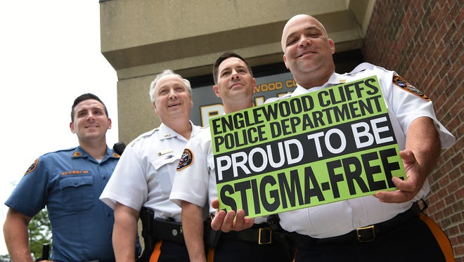 Englewood Cliffs Police Department goes stigma free.  (From left) Daniel O'Shea, Cheif Michael Cioffi, Lieutenant William Henkelman and Captain Brian Murphy on Tuesday July 03, 2018.