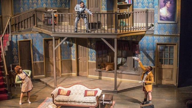"""A scene from Alabama State University's """"Noises Off"""" from ASU's Department of Theatre Arts at the Leila Barlow Theatre on Monday, March 5, 2018. The play is a British farce and runs through March 10."""