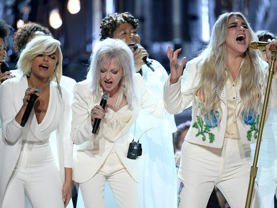 Kesha performs with (L-R) Bebe Rexha, Cyndi Lauper and Camila Cabello onstage during the 60th Annual GRAMMY Awards at Madison Square Garden on Jan. 28, 2018, in New York City.