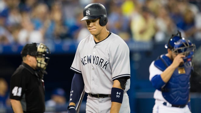 Aaron Judge reacts after striking out in the eighth inning against the Toronto Blue Jays at Rogers Centre.