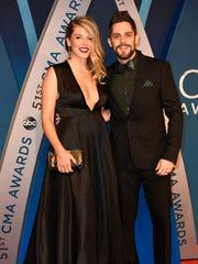 Thomas Rhett and wife Lauren on the red carpet at Music