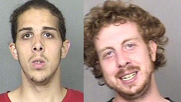 Police charged 22-year-old Anthony F. Pettolina (L) and Gerald J. Pettolina (R) with second-degree arson, aggravated arson, criminal mischief and burglary.
