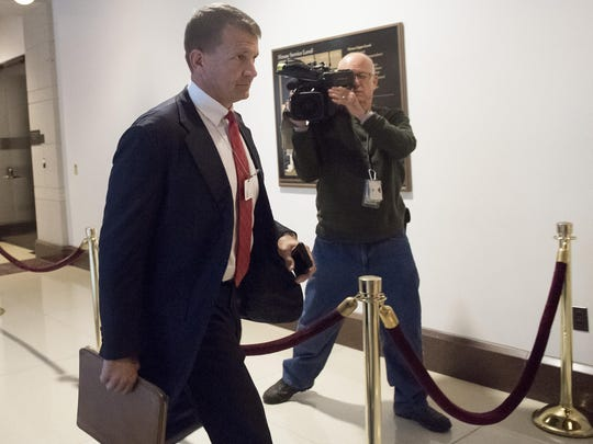 Erik Prince, founder of private military contractor Blackwater USA, arrives to testify during a closed-door House Select Intelligence Committee hearing on Capitol Hill in Washington, DC, November 30, 2017.