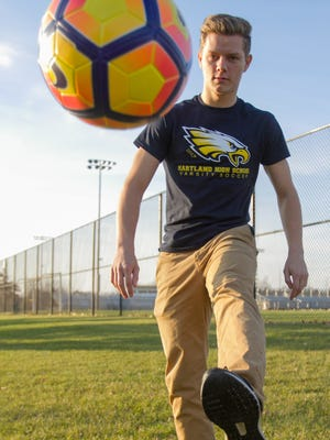 Hartland senior Brady Walker, a captain for the Eagles' varsity soccer team, shows his footwork handling the ball Tuesday, Nov. 28, 2017. Walker is this year's Boys' Soccer Player of the Year.
