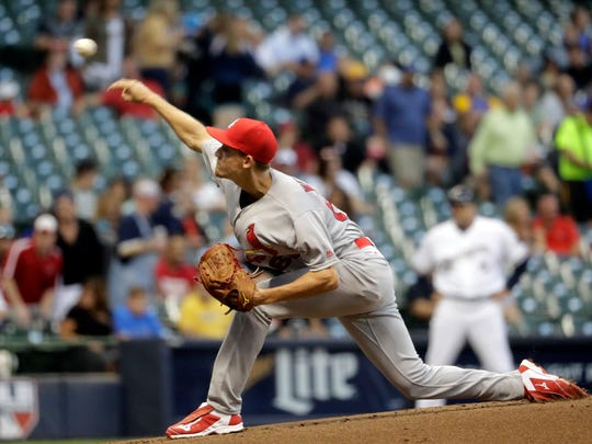 St. Louis Cardinals starting pitcher Luke Weaver throws during the first inning of a baseball game against the Milwaukee Brewers Wednesday, Aug. 31, 2016, in Milwaukee. (AP Photo/Morry Gash)