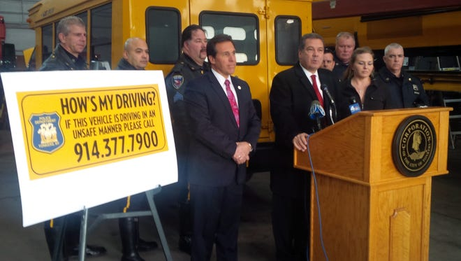 Officials in Yonkers released a new safety sticker Wednesday to be placed on each of the city's more than 700 school buses.