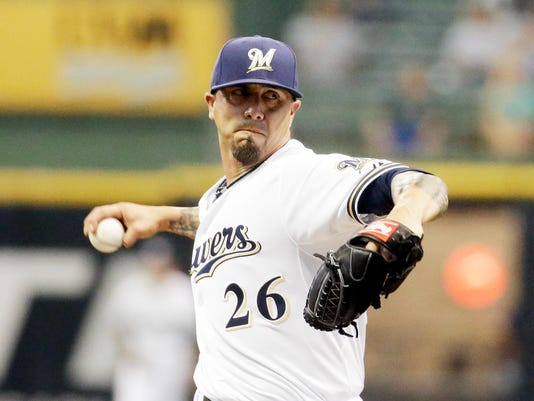 Milwaukee Brewers starting pitcher Kyle Lohse throws during the first inning of a baseball game against the Atlanta Braves Monday, July 6, 2015, in Milwaukee. (AP Photo/Morry Gash)
