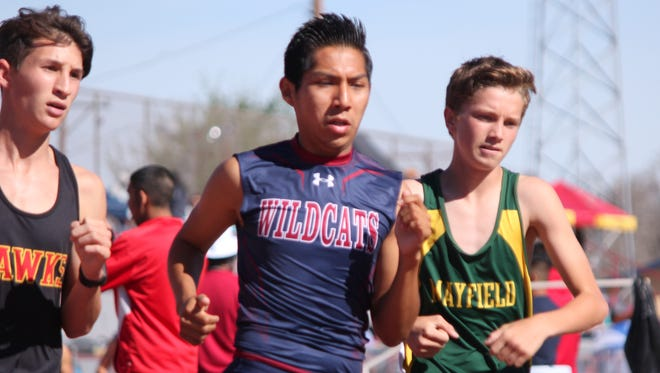 DHS Junior Brandon Joe starts the 3200m (two-mile) race ahead of most of his competition Saturday at the Thurman Jordan Relays held at the DHS Memorial Stadium.