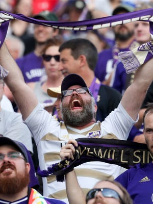 Hundreds of Louisville City FC fans attend the U.S. Open Cup match against the Chicago Fire. July 18, 2018