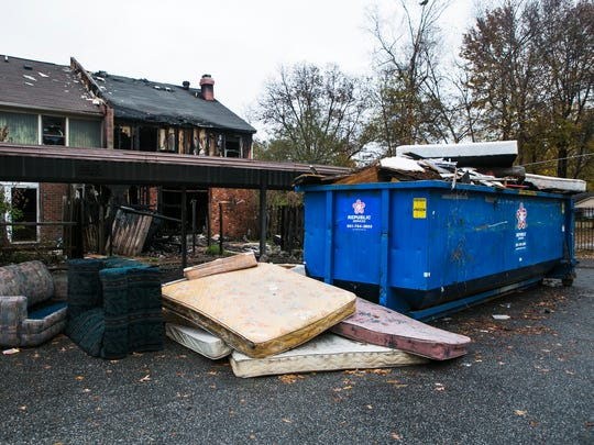 December 6, 2016 - Debris is scattered on the ground at the blighted Fox Hollow Town Homes in Hickory Hill on Tuesday. The Memphis Baptist Ministerial Association held a press conference addressing the deplorable living conditions and possible health issues at the complex.