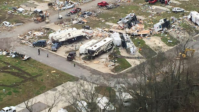 This photo released by Col. Mike Edmonson, superintendent of Louisiana State Police, shows an aerial view shows destruction in Convent, La., Wednesday, Feb. 24, 2016, after a suspected tornado moved through the area Tuesday night. Tornadoes and severe weather ripped through the Gulf Coast on Tuesday, mangling trailers and ripping off roofs from buildings in Louisiana and Mississippi, authorities said. (Col. Mike Edmonson/Louisiana State Police via AP)