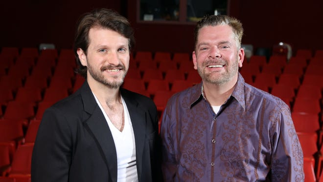 """Pat Patrick and Daniel DeVault, founders of the Humanity Project, pose for a photo at the Z. Alexander Looby Theater, where their first project, """" A Night of Empathy,"""" will take place Tuesday."""
