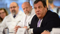 Gov. Chris Christie speaks to physicians at St. Joseph's Regional Medical Center about solutions to the opioid epidemic.