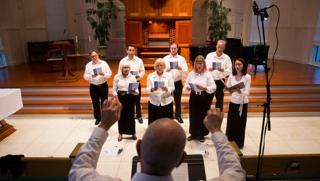 The Genesis Ensemble under the direction Brian Aranowski, the former music director of St. Mary's Episcopal Church in Bonita Springs, record their first CD at Moorings Park's Bower Chapel Thursday, July 6, 2017 in Naples.