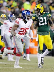Green Bay Packers free safety Ha Ha Clinton-Dix (21) celebrates after a penalty on the New York Giants in the third quarter at Lambeau Field.