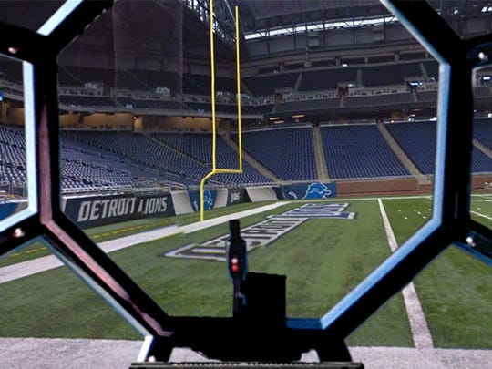 Ford Field, seen through the TIE Fighter.