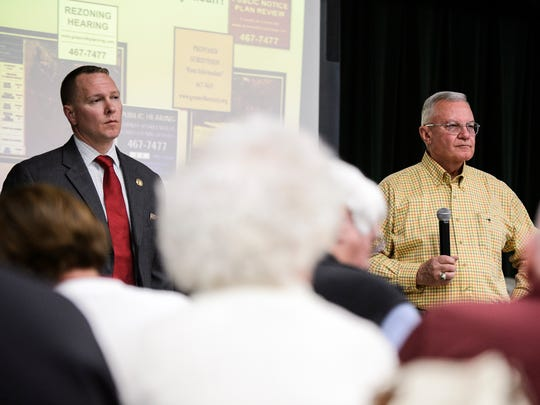 Greenville County Sheriff Will Lewis, left, and county