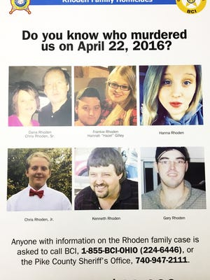 Wednesday, March 22, 2017: A reward poster for the Pike County homicides April 22, 2016.