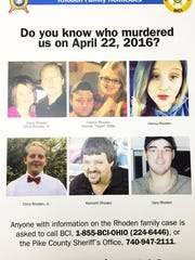 "Wednesday, March 22, 2017: A reward poster for the Pike County homicides April 22, 2016. (Top, from left) Dana and Chris Rhoden Sr., Frankie Rhoden and Hannah ""Hazel"" Gilley, Hannah Rhoden, (bottom, from left) Chris Rhoden Jr., Kenneth Rhoden and Gary Rhoden."