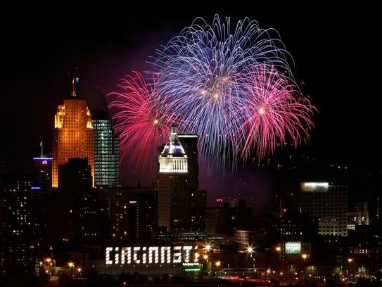 Fireworks light up the sky over the City of Cincinnati
