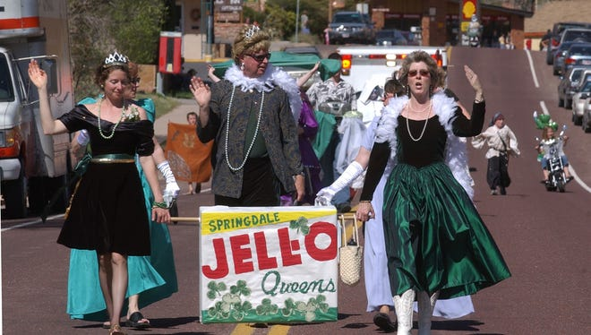 The Springdale Jell-O Queens march in the 2004 St. Patrick's Day parade. The annual parade and festival will take place this year on March 19.