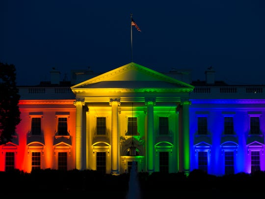 The White House is lit up in rainbow colors in commemoration