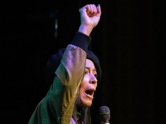 CNN political pundit Angela Rye talks to the crowd at the Orpheum during the I Am A Man Commemoration rally in 2018.