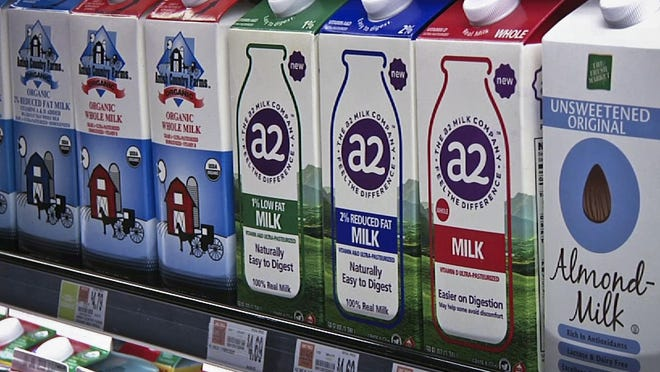 A2 milk, on display at The Fresh Market in Latham, may help some people digest the beverage more easily.