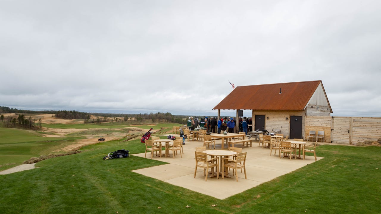 Sand Valley Golf Resort in the town of Rome opened May 1 for Community Day, ahead of its public grand opening on May 2. Residents gathered at Craig's Porch, a restaurant and bar that overlooks the first hole of golf, for the event.