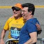 Patrick Durkin turns left onto Boylston Street in Boston, the final approach to the finish line of the Boston Marathon.