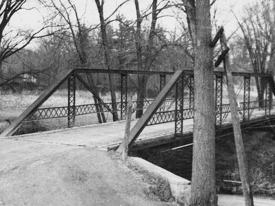 This old steel bridge on highway PP near Richardson's Mill is shown in 1898.