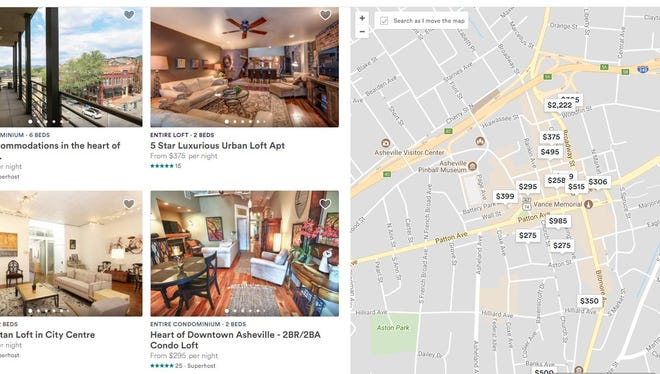 This Jan. 4 screenshot shows short-term vacation rentals available downtown through Airbnb.