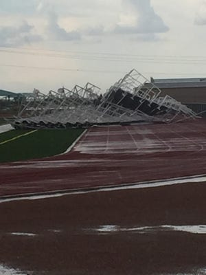 High winds destroyed a set of bleachers at Chaparral High School on Monday, Aug. 1, 2016.