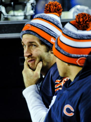 Chicago Bears quarterback Jay Cutler on the sidelines