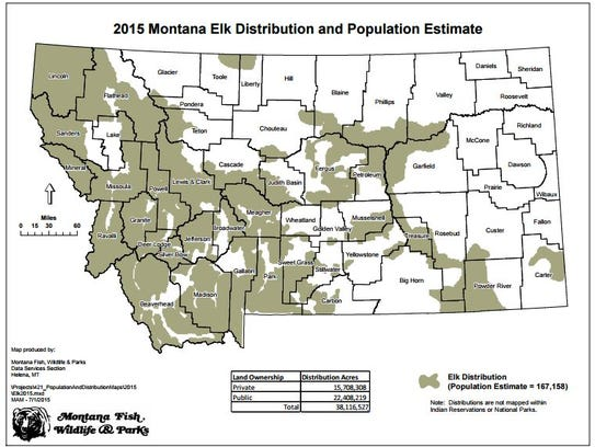The shaded area shows elk distribution in Montana.