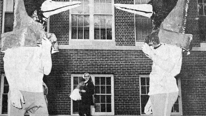The Redwood Falls High School mascot was seeing double - or at least the spectators were - during the Cardinal Days celebration, as seen in this photo that first appeared in the Oct. 6, 1970 Redwood Gazette.