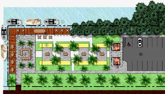 A rendering showing plans for a food truck park in a vacant lot across Haldeman Creek from the Three60 Market off Bayshore Drive in Naples. The eight yellow spaces are where vendors would be located.