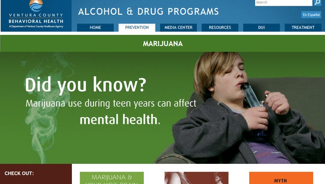 A Ventura County Behavioral Health Department website shows the agency's concern about  teen marijuana use.