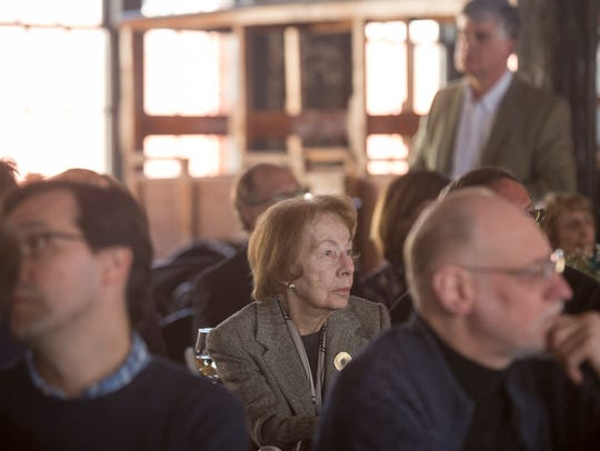 Gloria Whelan watches a short film during the Piquette