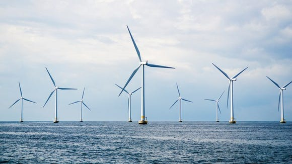 Offshore wind turbines.
