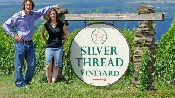 In 2011, Paul and Shannon Brock bought Silver Thread Vineyard, a Seneca Lake winery that began practicing sustainable farming in the 1980s. The couple have continued the tread-softly approach to growing grapes by using mulch, compost and cover crops instead of chemical fertilizers. Provided photo.