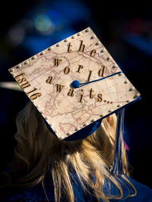 A student's decorated cap during Tennessee State University's spring commencement at Hale Stadium, Saturday, May 7, 2016, in Nashville, Tenn.