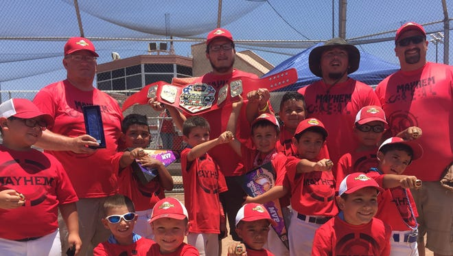 Deming Mayhem, a 7-and-under traveling baseball team won the Silver Bracket Championship of a USSSA sanctioned tournament the Southwest Global World Series this past weekend in Las Cruces, NM. The team consists of (in no particular order):Cristian Corral, Darren Westbrook, Benjamin Robledo, Dominic Garces, Eli Granillo, Junior De Los Reyes, Lloyd Valentine, Luis Armendariz, Max Allison, Micah Guevara, Pablo Covarrubias, and Royce Sutton. Coaches are:Lloyd Valentine, Matt Allison, Tony Guevara, Dennis Westbrook, and Steve Sutton.