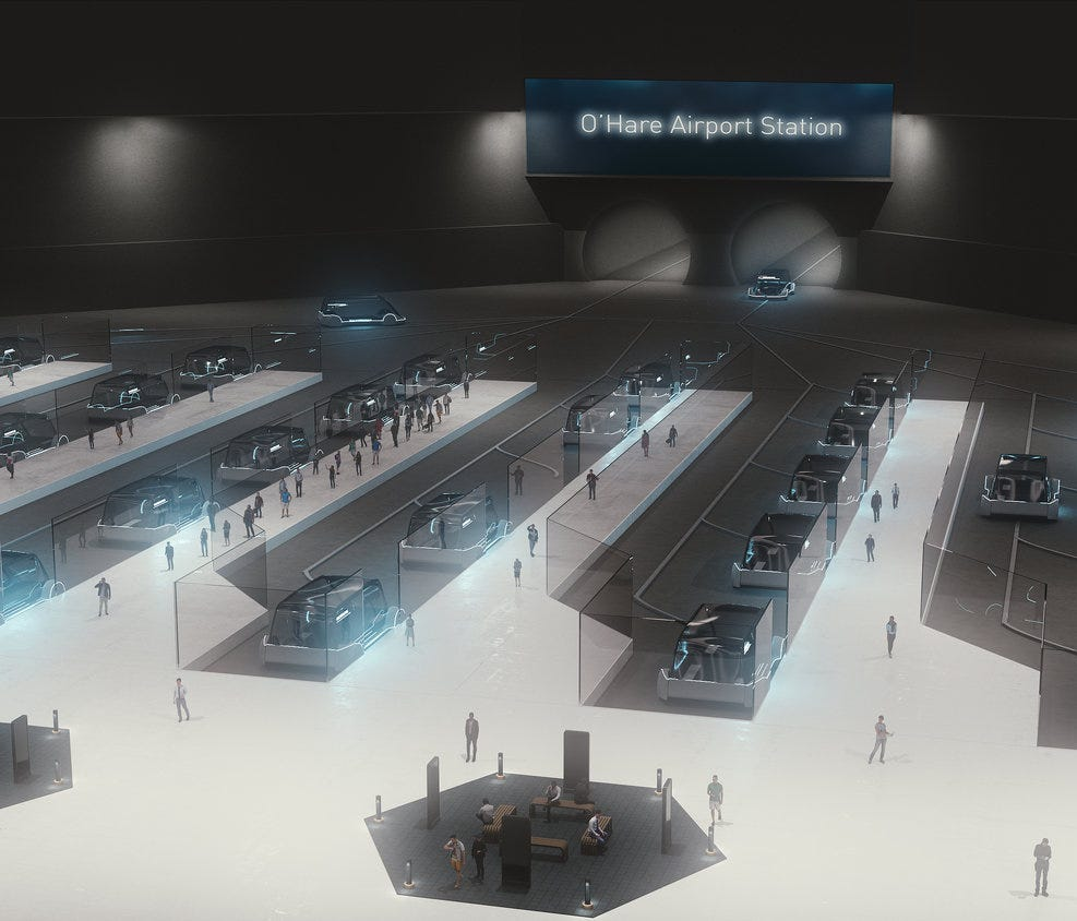 Elon Musk's Boring Company is Chicago Mayor Rahm Emanuel's pick to build a high-speed transit system connecting O'Hare International Airport and downtown Chicago. This rendering shows the company's proposal for its O'Hare station.