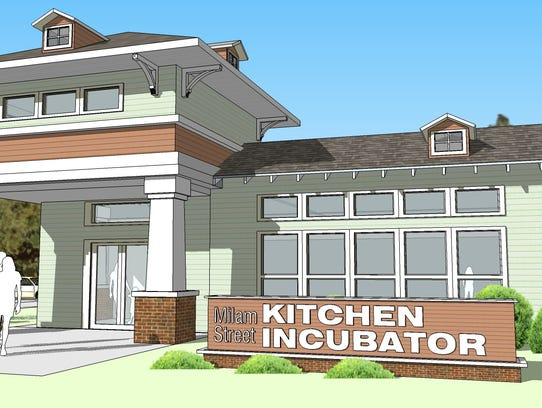 A drawing of what the kitchen incubator will look like