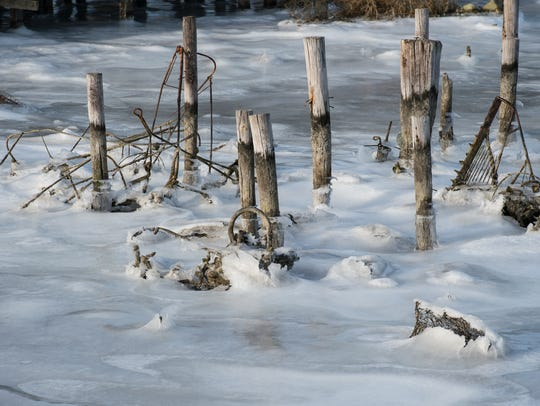 A view of the ice remnants of a dock in Smith Island.