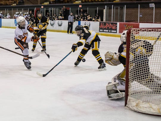 Detroit Compuware's Gavin Hayes scores on the Waterloo Wolves during a Silver Stick PeeWee AAA hockey game Saturday, Jan. 14, 2017 at McMorran Arena.