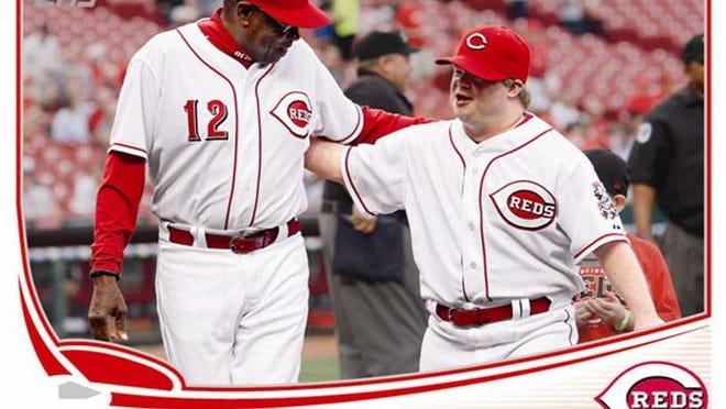 "Former Reds Manager Dusty Baker, left, and Ted ""Teddy"" Kremer on the 2013 Topps Update variant baseball card,"
