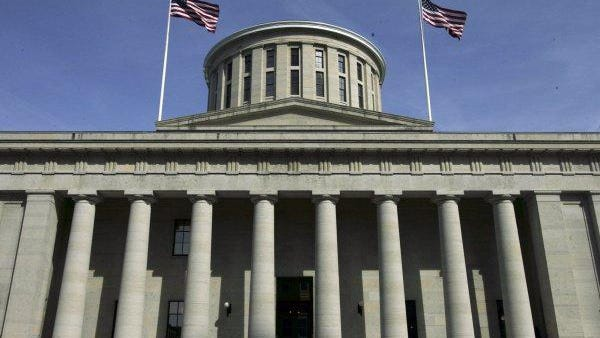 sThe Ohio Statehouse west portico.